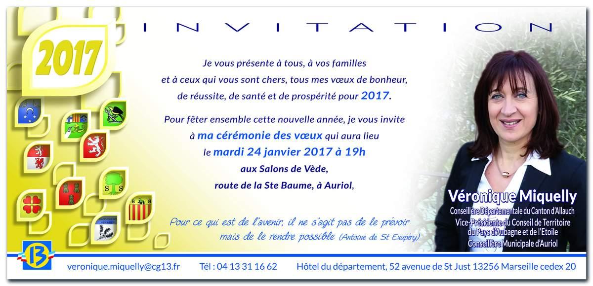 Voeux Véronique Miquelly 24-01-2017 à 19h aux Salons de Vède à Auriol
