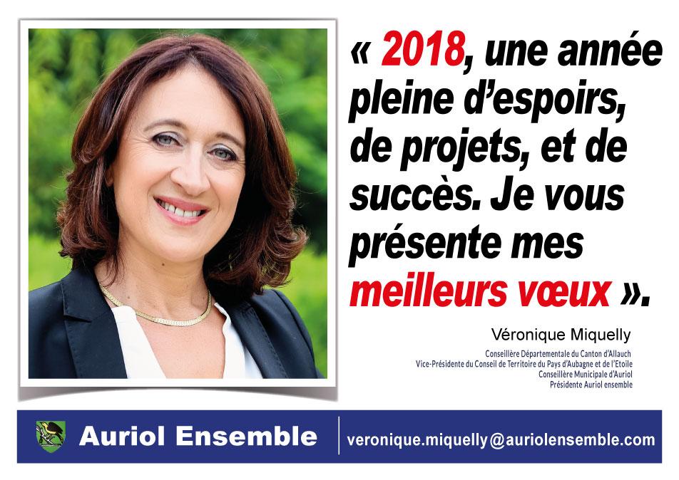 2018, une année pleine d'espoirs, de projets et de succès. Je vous présente mes meilleurs vœux. Véronique Miquelly