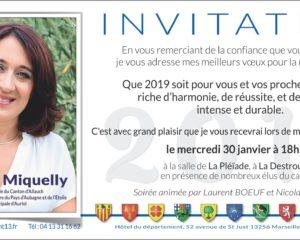 VERONIQUE MIQUELLY INVITATION VOEUX 2019