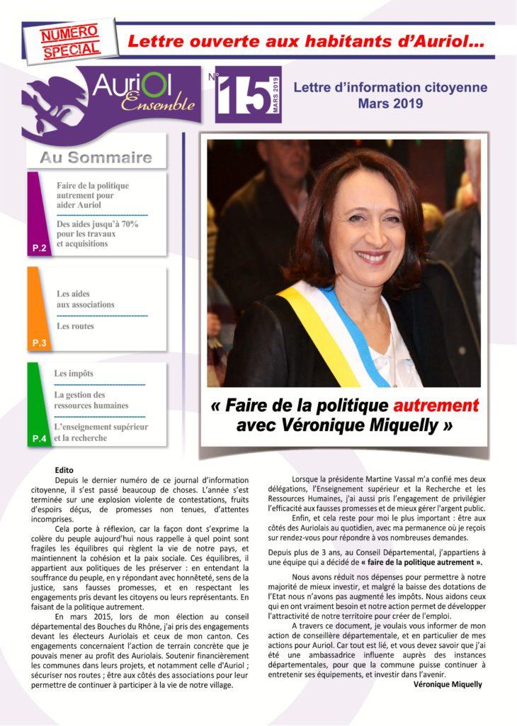 Auriol Ensemble lettre d'information citoyenne N°15 - Véronique Miquelly